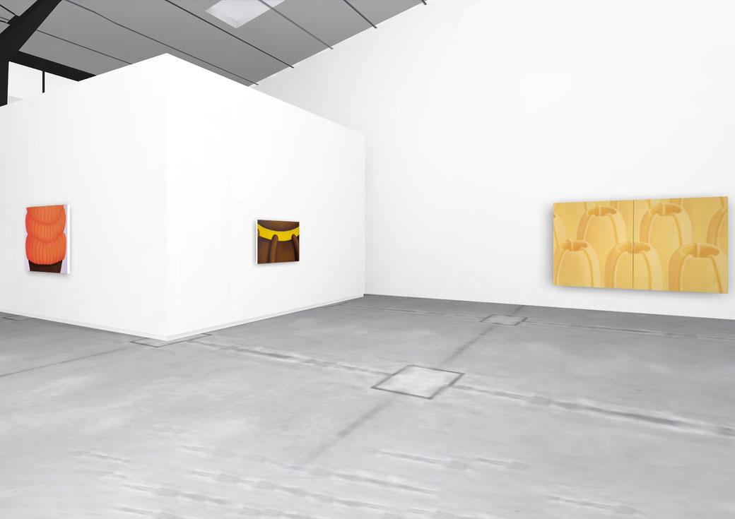 "Pia Krajewski, solo exhibition ""Floating Craters"", 2020, Artuner, left: oT (Pfanne) 2020, 120x150cm, middle: oT (Haarkrone) 2020, 80x120cm, right: oT (Vulkanlandschaft) 2020, 180x300cm"