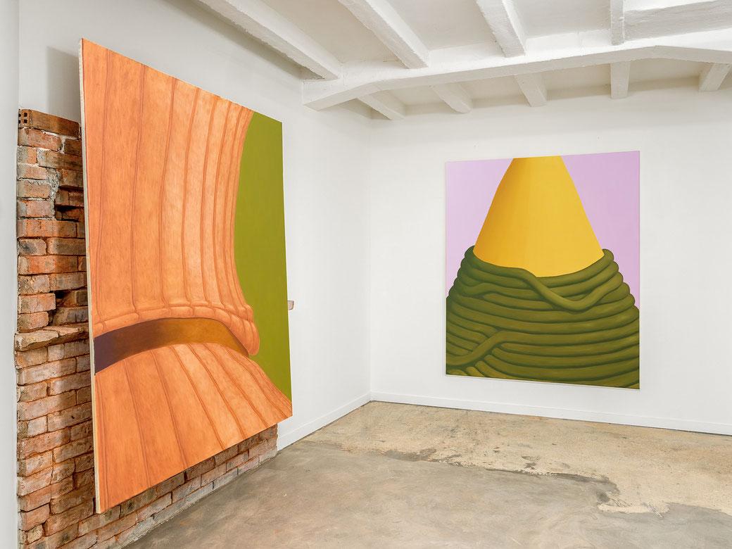 "Pia Krajewski, ""Lost and Found in Paradis"" 2019, Artuner Paris, left: oT (Socke) 2019, 180x150cm, right: oT (Spitze) 2019, 180x150cm"