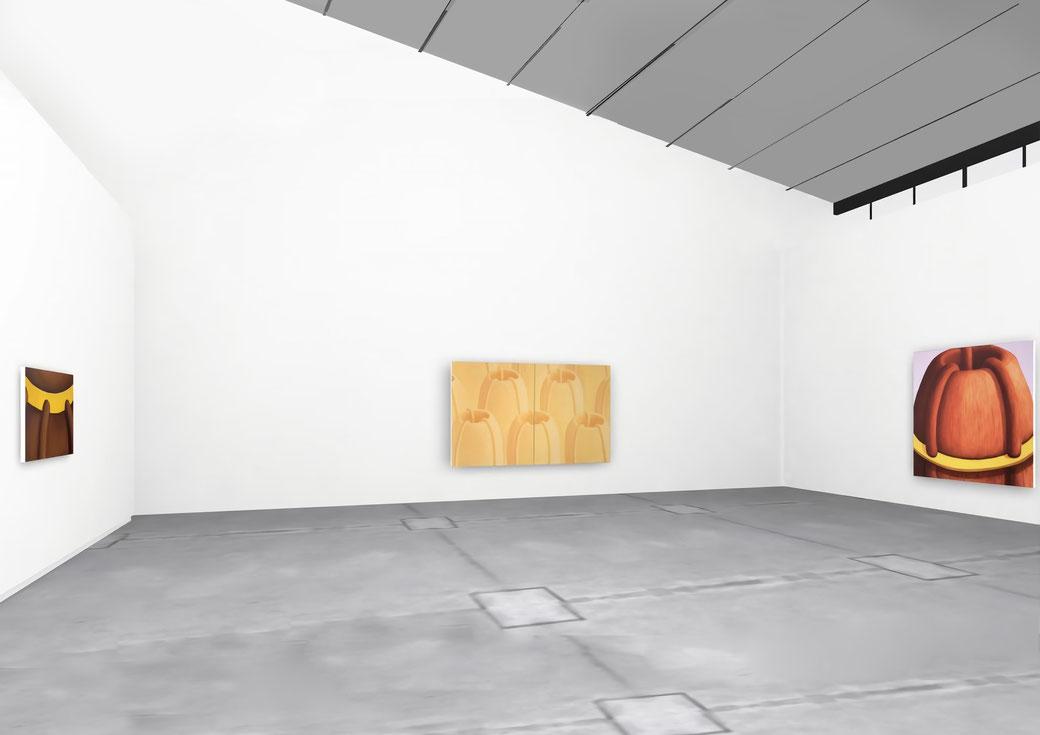 """Pia Krajewski, solo exhibition """"Floating Craters"""", 2020, Artuner, left: oT (Haarkrone) 80x120cm, middle: oT (Vulkanlandschaft) 2020, 180x300cm, right: oT (Haarvulkan) 2020, 200x180cm"""