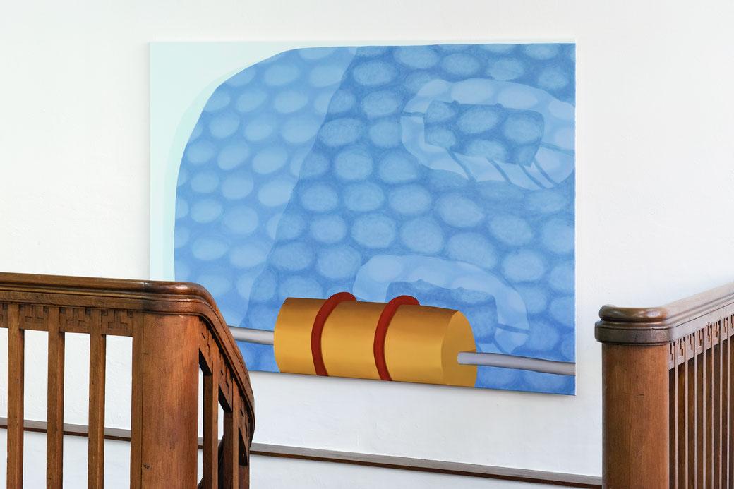 "Pia Krajewski, ""Come Close and Step Back"" 2019, curated by Jurriaan Benschop, Künstlerhaus Bethanien, oT (Spindel) 2019, 150x200cm"