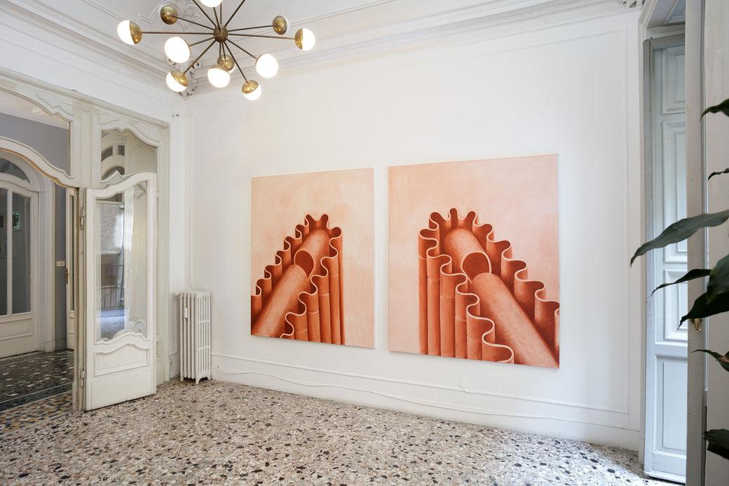 """Pia Krajewski, solo exhibition """"Sight and Touch"""" 2021, Artuner Milano, oT (Sweets) 2021, oil on canvas, 2x 180x150cm , Foto: Filippo Armellin"""