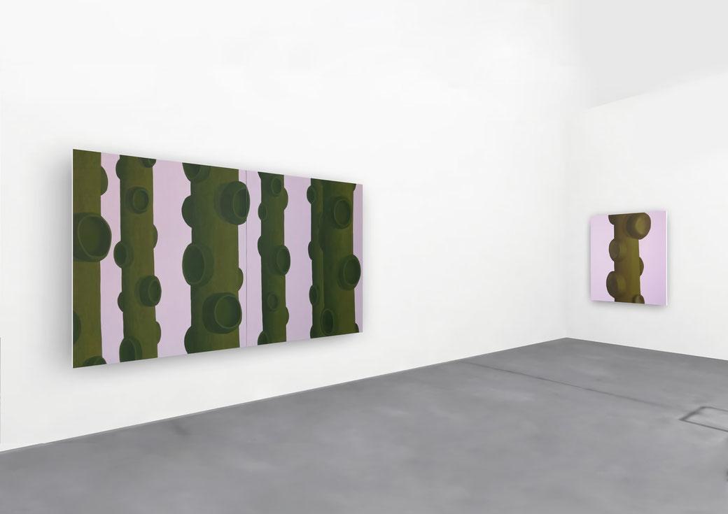 "Pia Krajewski, solo exhibition ""Floating Craters"", 2020, Artuner, left: oT (Wald) 2020, 180x300cm, right: oT (Ast) 2020, 150x100cm"