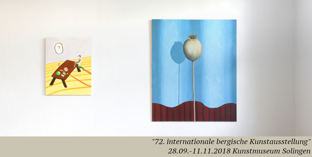 Artist Pia Krajewski, oT (PomeloFalke), 2017, oil on canvas, 100x80, oT (Mohn), 2018, oil on canvas, 180x150, 72. internationale bergische Kunstausstellung, Kunstmuseum Solingen, painting