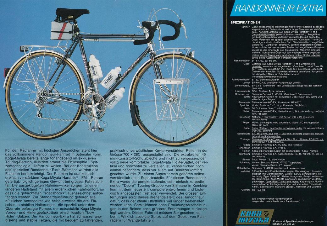 """Mein """"RX"""" von 1986 im Prospekt (total unpraktisch war die Luftpumpe unterm Oberrohr, wenn man das Fahrrad umtragen musste)"""