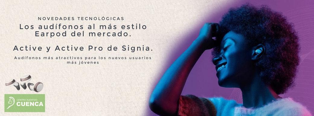 Los audífonos al más estilo Earpod del mercado, Active y Active Pro de Signia. En Centro Auditivo Cuenca, Valencia.