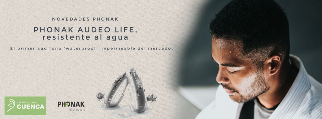 Audífono Phonak Audeo Life, resistente al agua. El primer audífono waterproof impermeable del mercado. En Centro Auditivo Cuenca, Valencia.