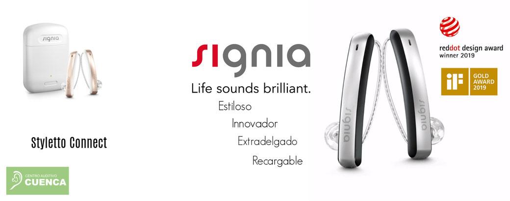 Styletto Connect, estiloso, innovador, extradelgado y recargable. Todas las innovaciones audiológicas de los audífonos Signia. Centro Auditivo Cuenca, Valencia.