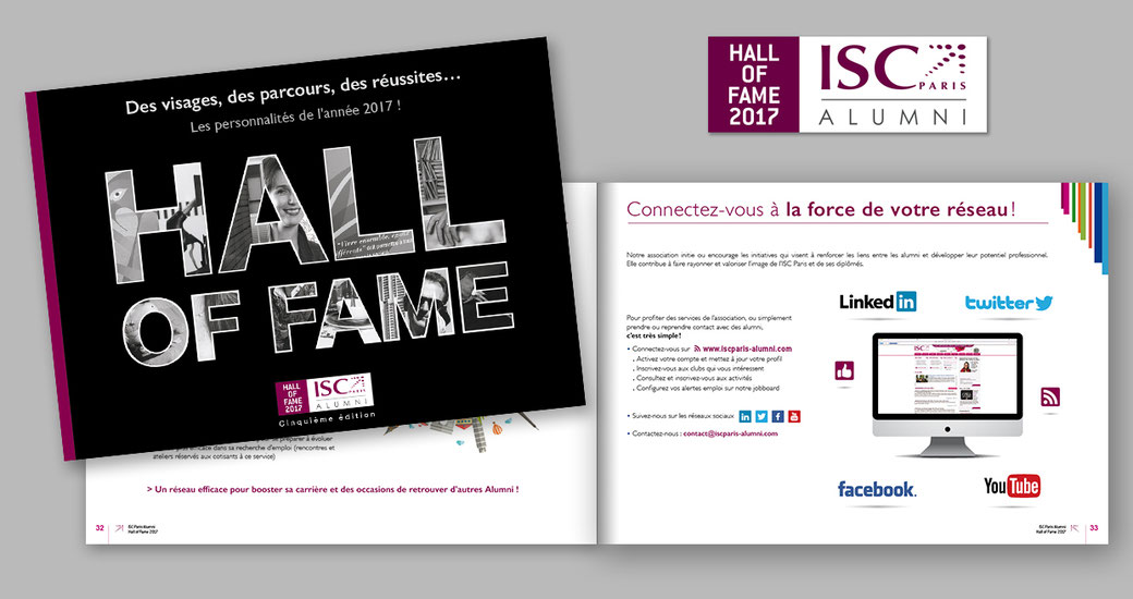 Réalisation de la brochure Hall Of Fame 2017 de l'ISC Paris Alumni