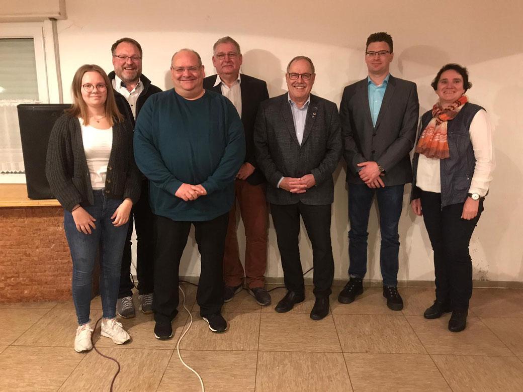 von links nach rechts: Anna-Lena Hirsch (neue Schriftführerin), Marcus Schädler (neuer Vorstand Organisation/Veranstaltungen), Michael Lödl (neuer 2. Vorstand), Stephan Högerle, Klaus Pöpperl, Stefan Raffelt (neuer 1. Vorstand), Manuela Moosmann