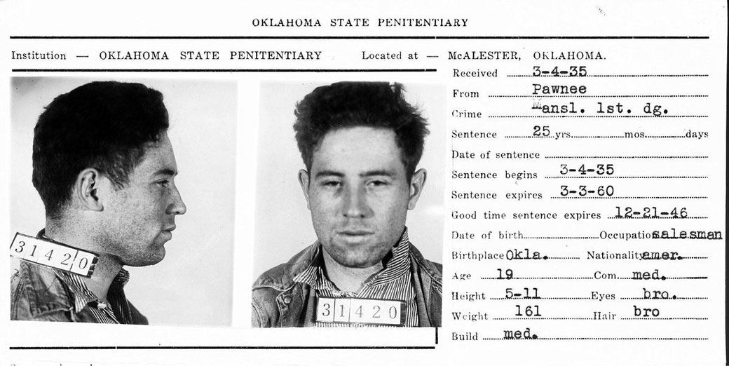 Entry form to the Oklahoma State Penitentiary in 1935