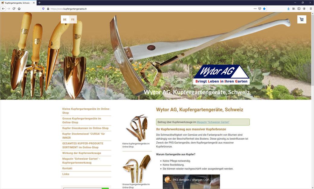 Kupfergartengeräte - Wytor AG, Laupen ZH - Jürg und Brigitta Richli