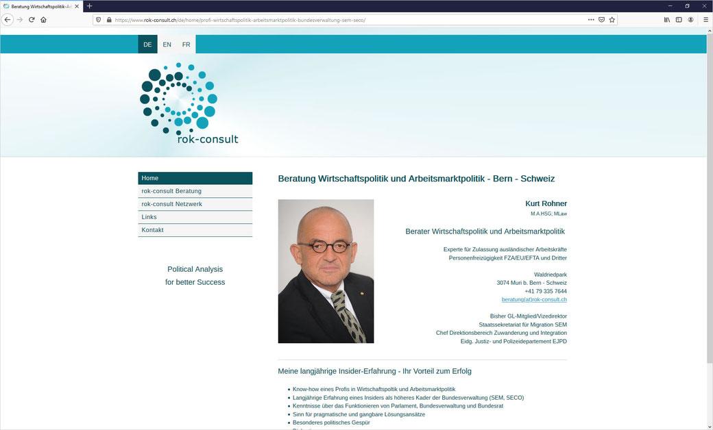 rok-consult.ch - Kurt Rohner Beratung Wirtschafts- und Arbeitsmarktpolitik Schweiz