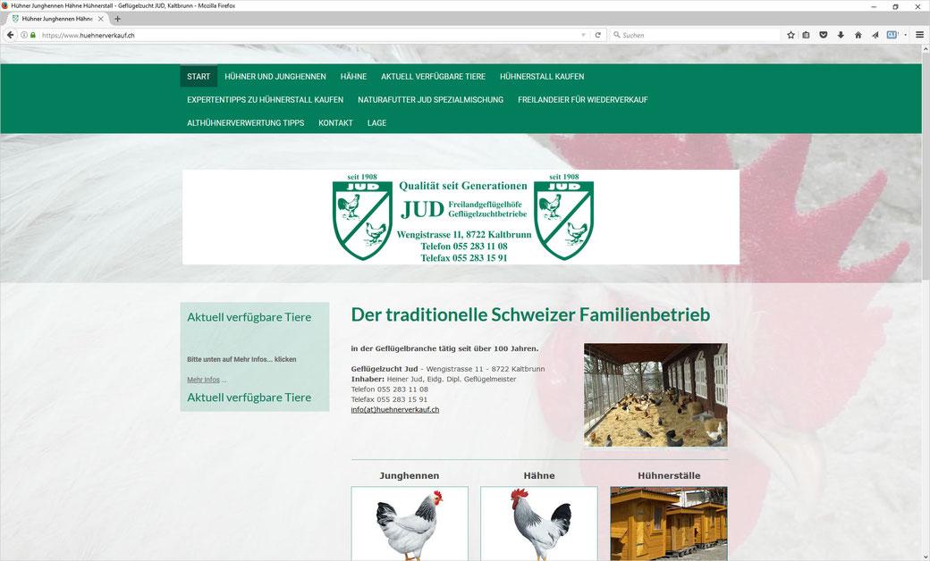 Geflügelzucht JUD, Kaltbrunn - Junghennen, Hühner, Hähne, Hühnerställe, Freilandeier, Naturafutter