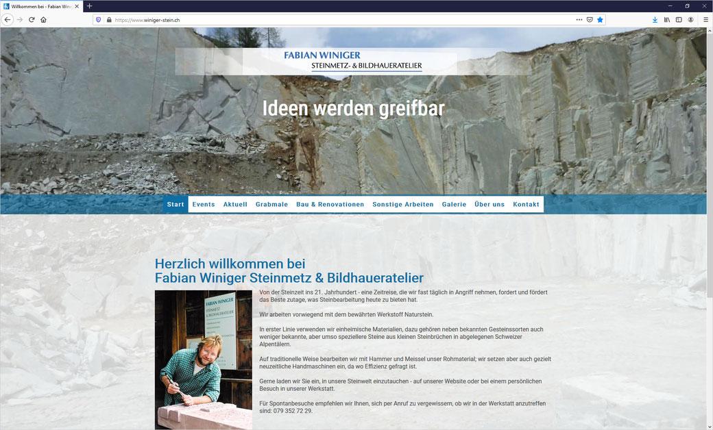Fabian Winiger Steinmetz & Bildhaueratelier, Hombrechtikon - Umsetzung mit Responsive Design CMS für PC's, Tablets und Smartphones.