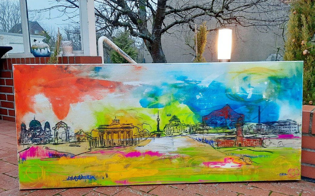 abstraktes Bild bunt Wahrzeichen von Berlin - so bunt wie Berlin