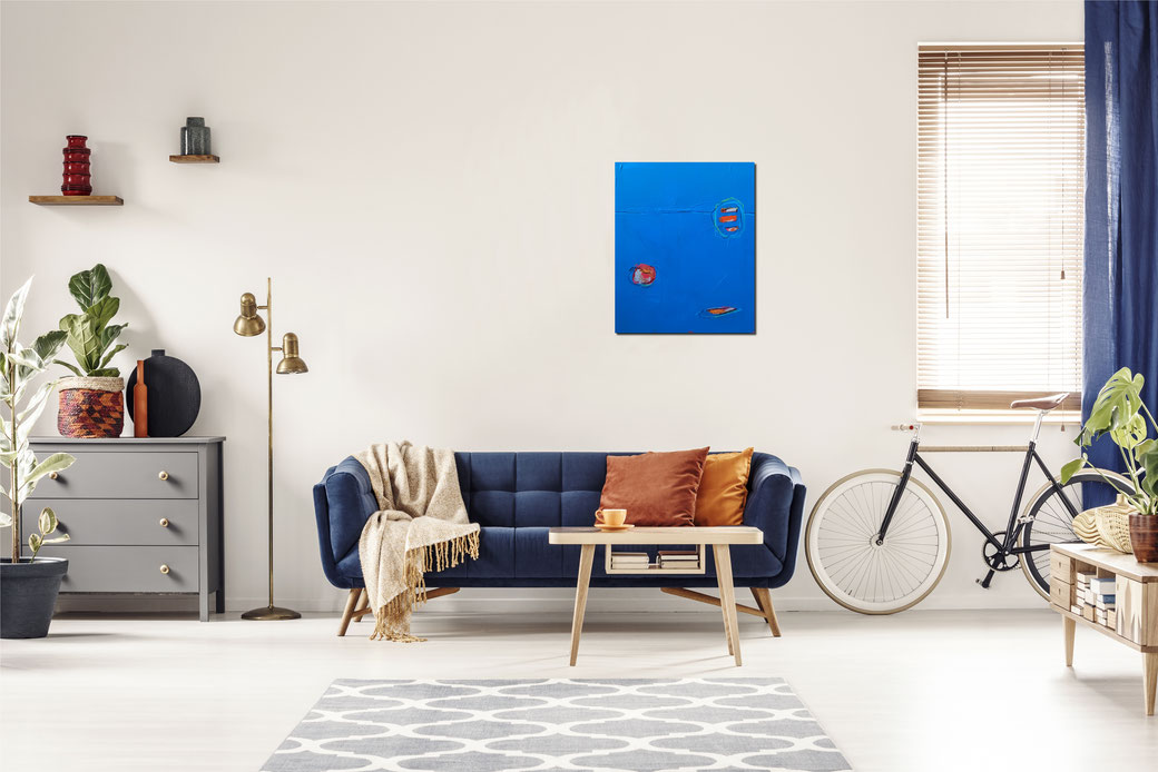 blaues Bild für Wohnzimmer