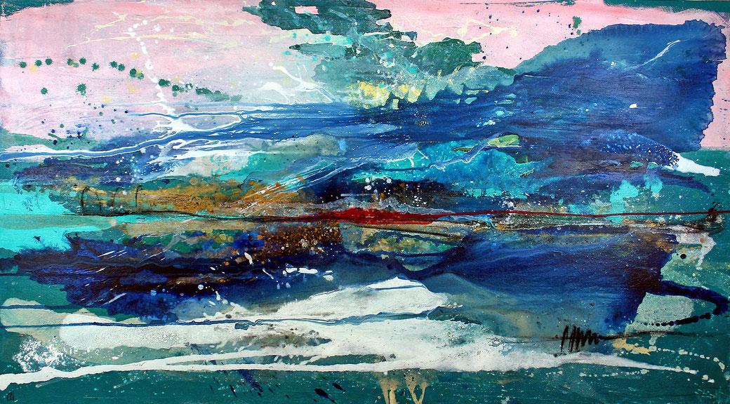Abstraktes großes Gemälde in türkis