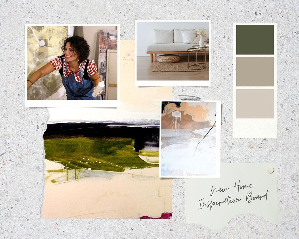 moodboard Wandfarbe und grüne beige Bilder