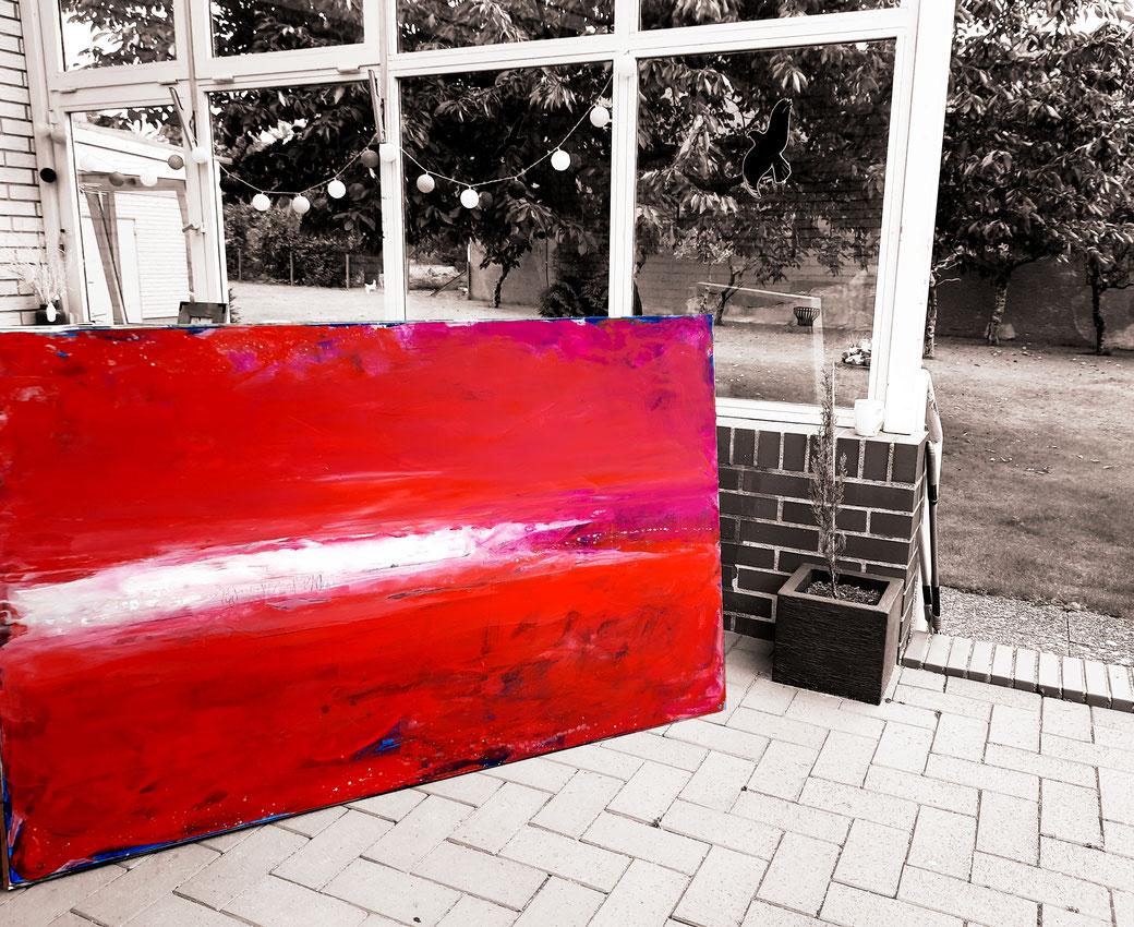 abstraktes Landschafts-Bild in rot