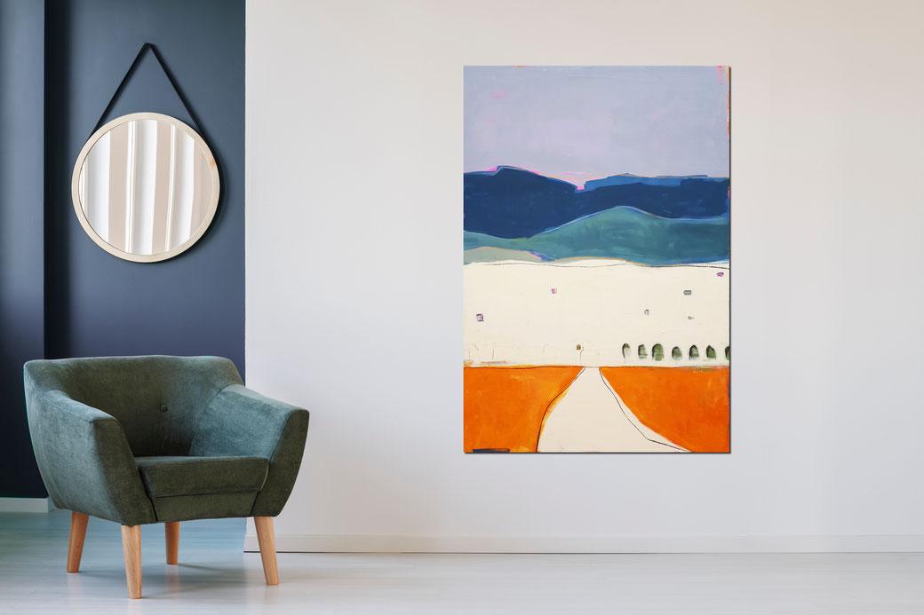abstraktes Landschafts-Bild in orange petrol pastell