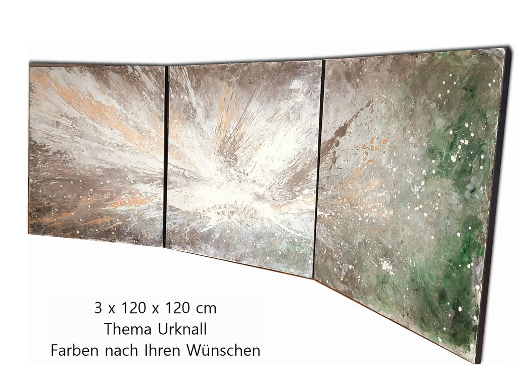 Auftragsmalerei Thema Urknall 3 x 120 x 120 cm