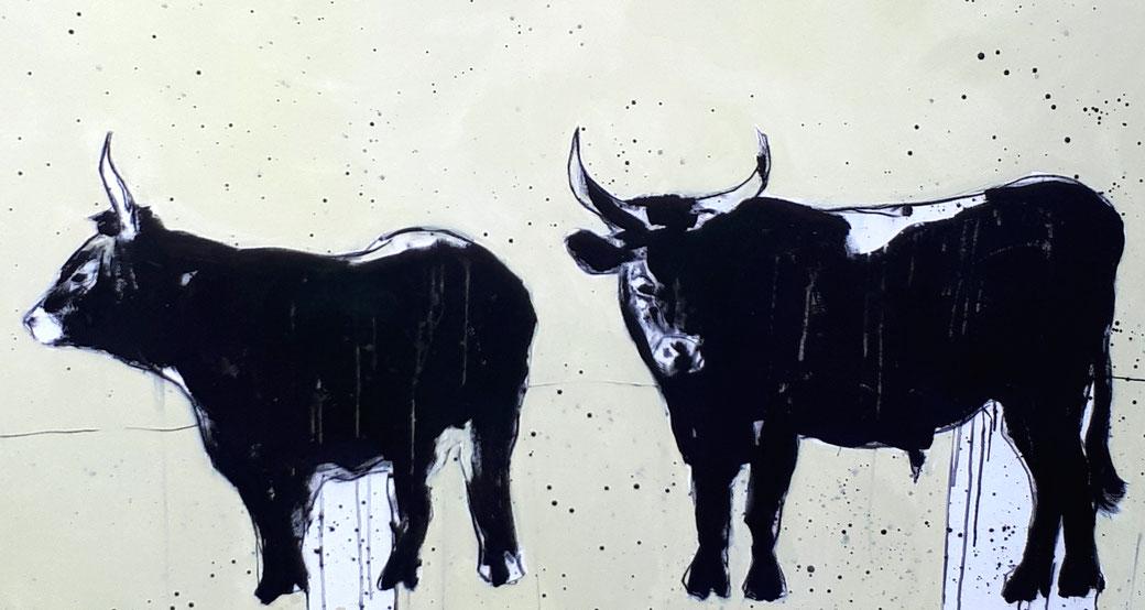 Stierbild gemalt 160 x 100 cm - verkauft