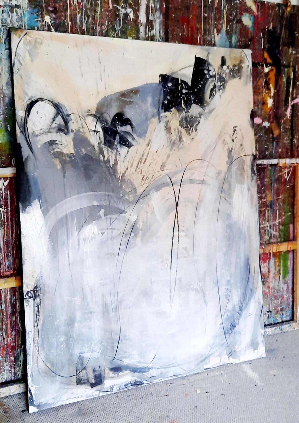 Abstraktes Bild XXL Beige Grau Weiss