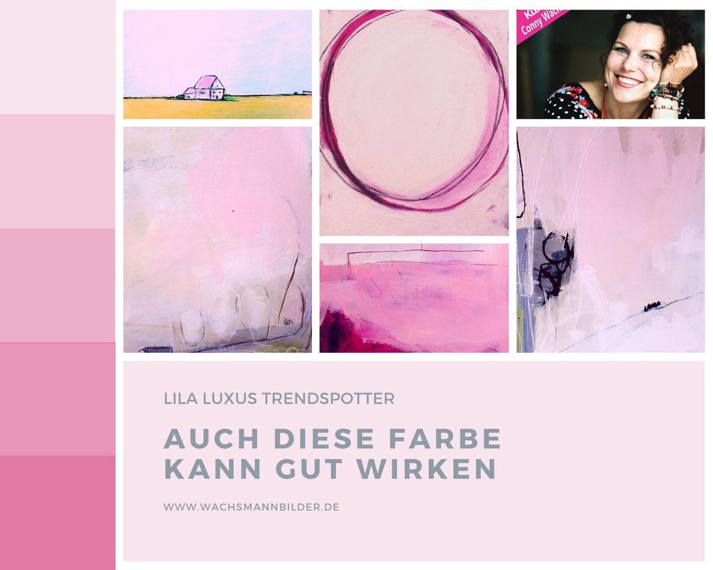 moodboard Wandfarbe und rosa pinke Bilder