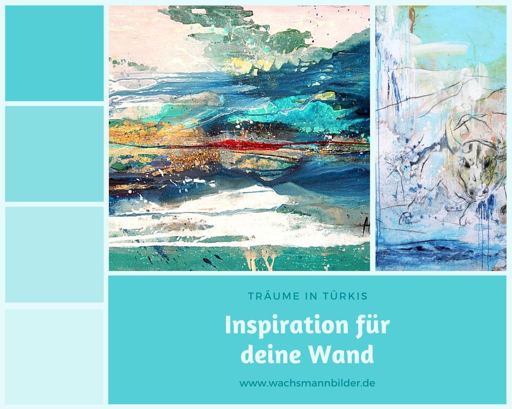 moodboard Wandfarbe und hellblaue türkise Bilder