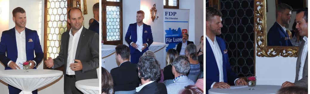 Moderator Thomas Odermatt moderiert einen Polittalk mit FDP Ständerat Damian Müller und dem Luzerner Regierungsrat Fabian Peter.