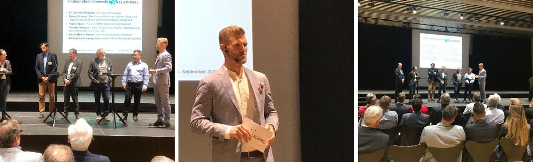 Moderator Thomas Odermatt moderiert das Wirtschaftsforum der Gemeinde Allschwil in Basel.