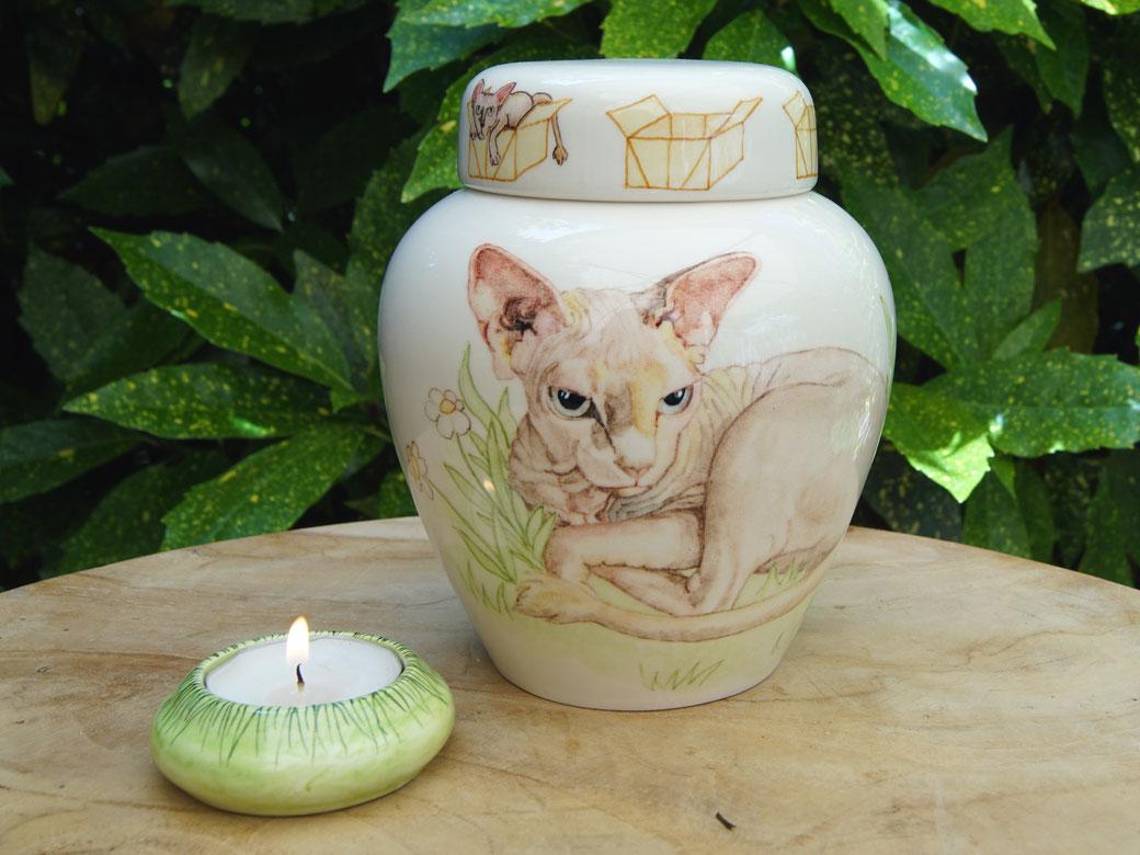 urn-kat-unieke-dierenurnen-kat-maatwerk-urnen-voor-dieren-urn-sphynx kat-unieke-dieren-urnen-handbeschilderde-urnen-maatwerk-urn-dier-persoonlijke-urn-laten-maken-bijzondere-dierenurnen-katten-urnen-phebe-portret-urnen-voor-katten-urn-met-portret-urn-kat