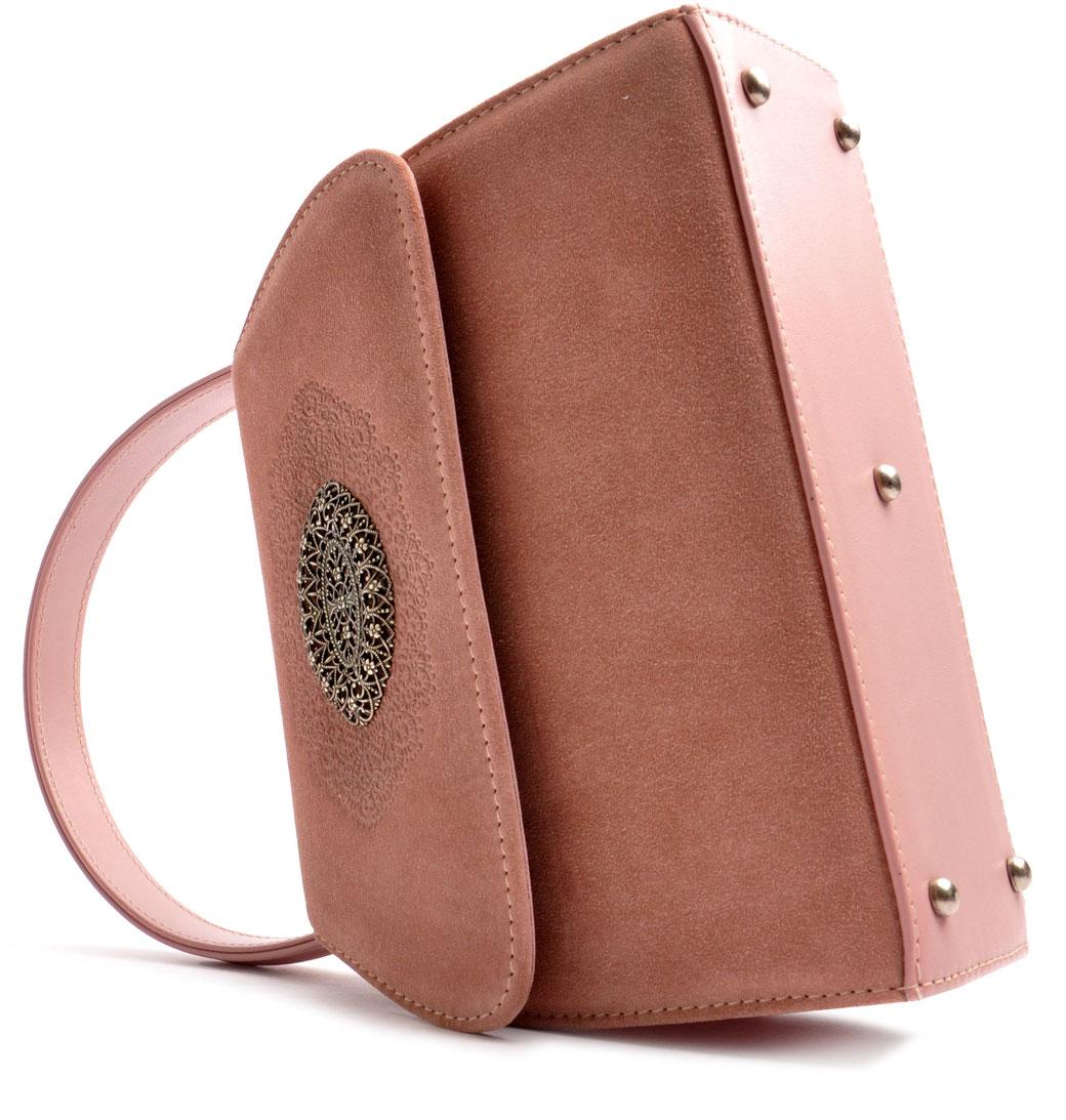 Trachtentasche rosa .  Leder OSTWALD Tradition