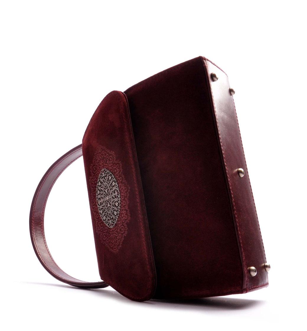 Trachtentasche bordeaux .  Leder OSTWALD Tradition in weinrot