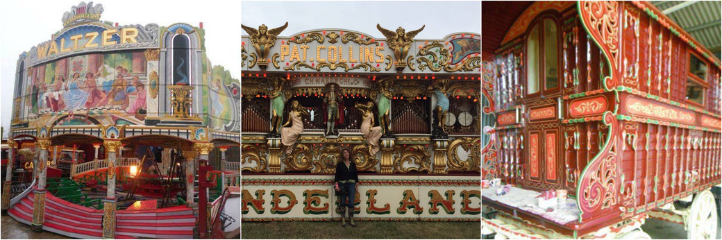 Fairground Waltzer, gilded organ and gypsy waggon.