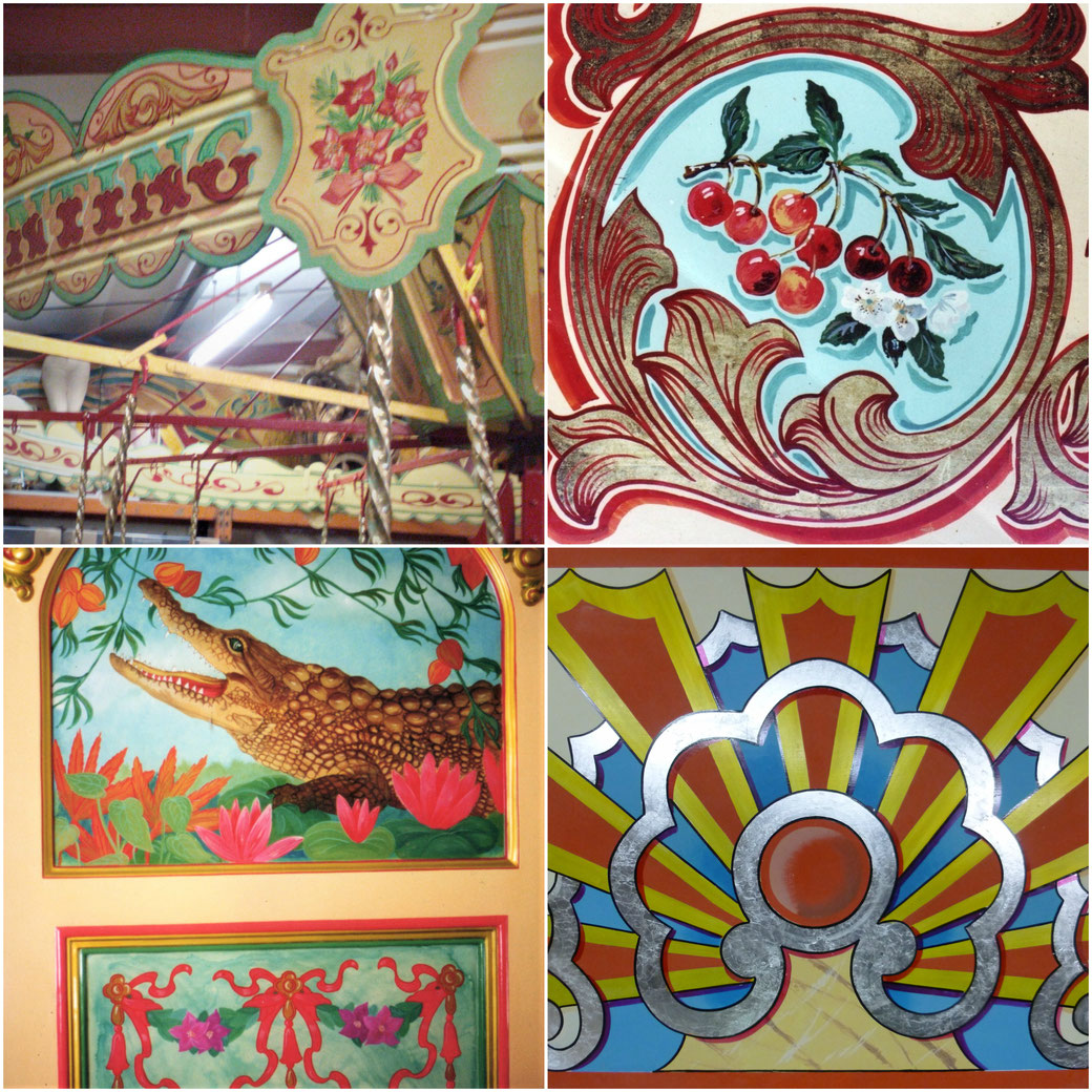 Restored childrens fairground ride, rounding boards, juvenile, panel from showmans wagon ceiling, gilded scrolls, folk art crocodile, katie morgan, kbmorgan, katie b morgan, illustrator, roundabout panel, flash, fairground panel ,kbmorgan