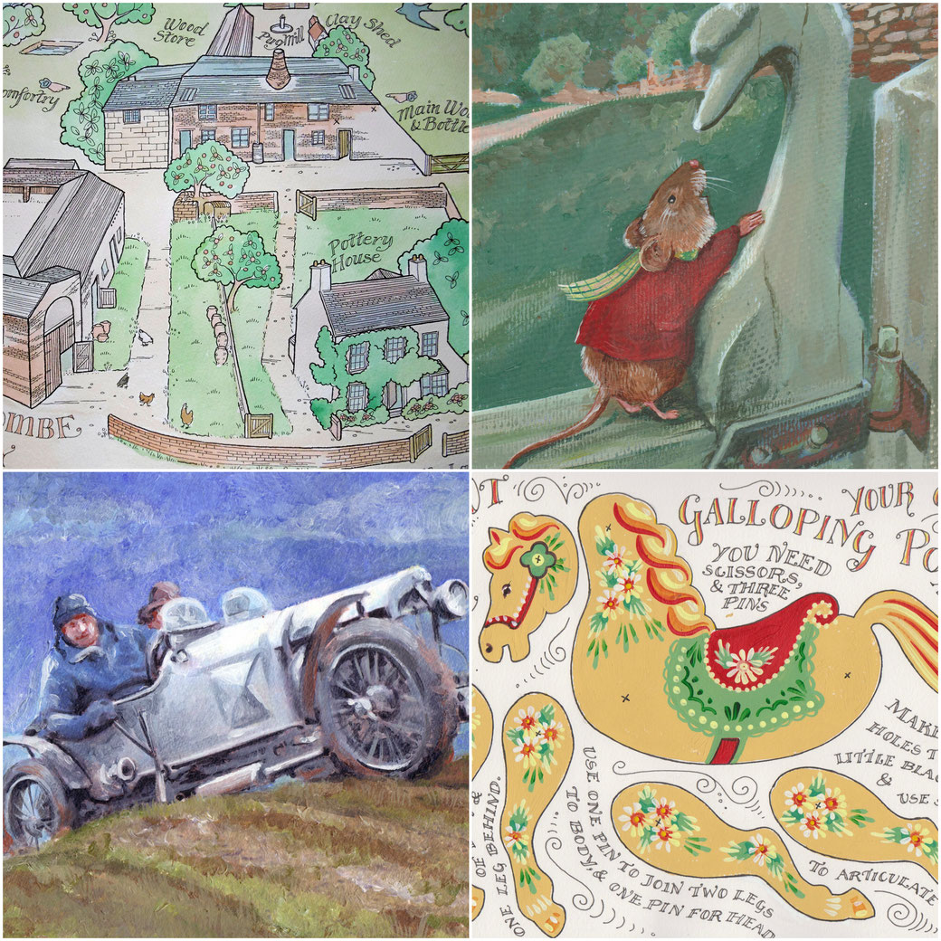 Hand drawn maps, winchcombe pottery, watercolour- Acrylic illustration, mouse,- Painting of vintage car, bugatti, car portraits,- illustrations, puppets, vintage designs, lettering, graphic design