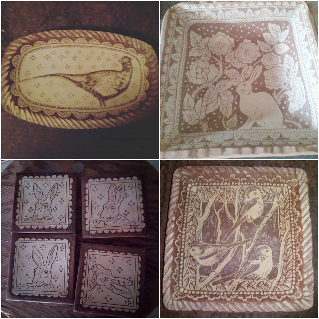 slipware, pheasant on pottery, sgraffito hare and wild roses, hare tiles, little birds, earthenware, redware, pottery, country pottery, winchcombe pottery, kbmorgan, the world of interiors