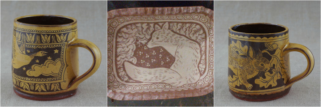 slipware mug with goose decoration, sgraffito fox on earthenware plate, squirrel on mug, redware, slipware, winchcombe pottery, kbmorgan,