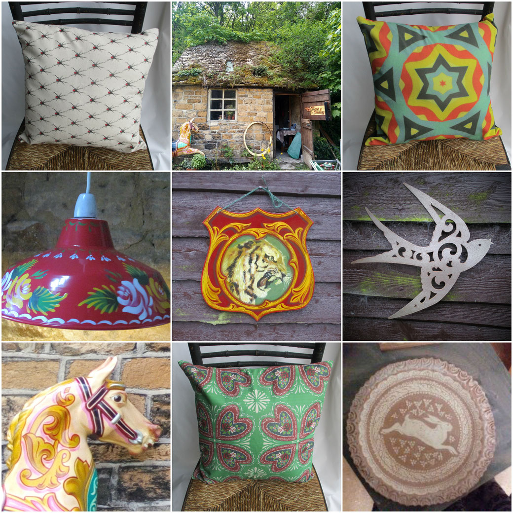 the world of interiors, cushions, canal cushions, hearts and roses cushion, red backed spider fabric, katie red backed spider cushion, fibreglass horses, fairground horse, old signs, enamel lampshade,pottery, earthenware, sgraffito, kbmorgan, metal bird,