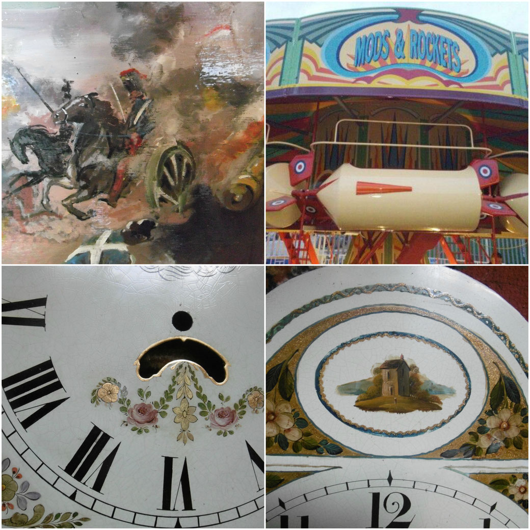 Close up of painted panel on barrel organ, jets at dreamland, fairground artist,clock dial restoration, kbmorgan,katie morgan, kbmorgan, katie b morgan, illustrator,