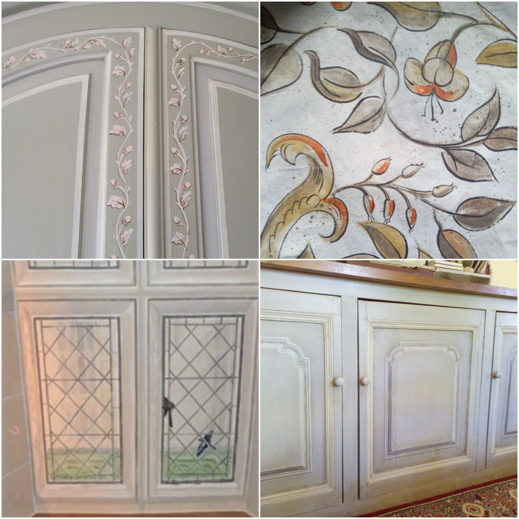 Hand painted furniture, painted canvas, tudor wall painting,murals, trompe l'oeil, painted window, painted kitchen with faux raised field panels, interior design, interior decoration, decorative painting, kbmorgan
