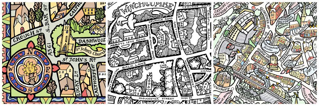 hand drawn pictorial maps, hand drawn street map. katie b morgan, kbmorgan, stroud map, winchcombe map