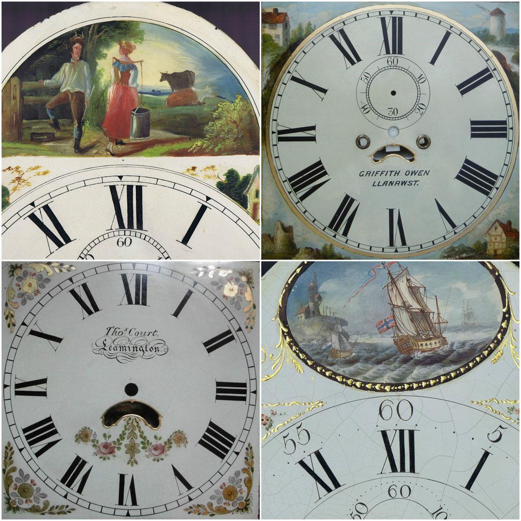 Clock dial restoration, gilding, lettering, painted landscapes, hand painted, restoration