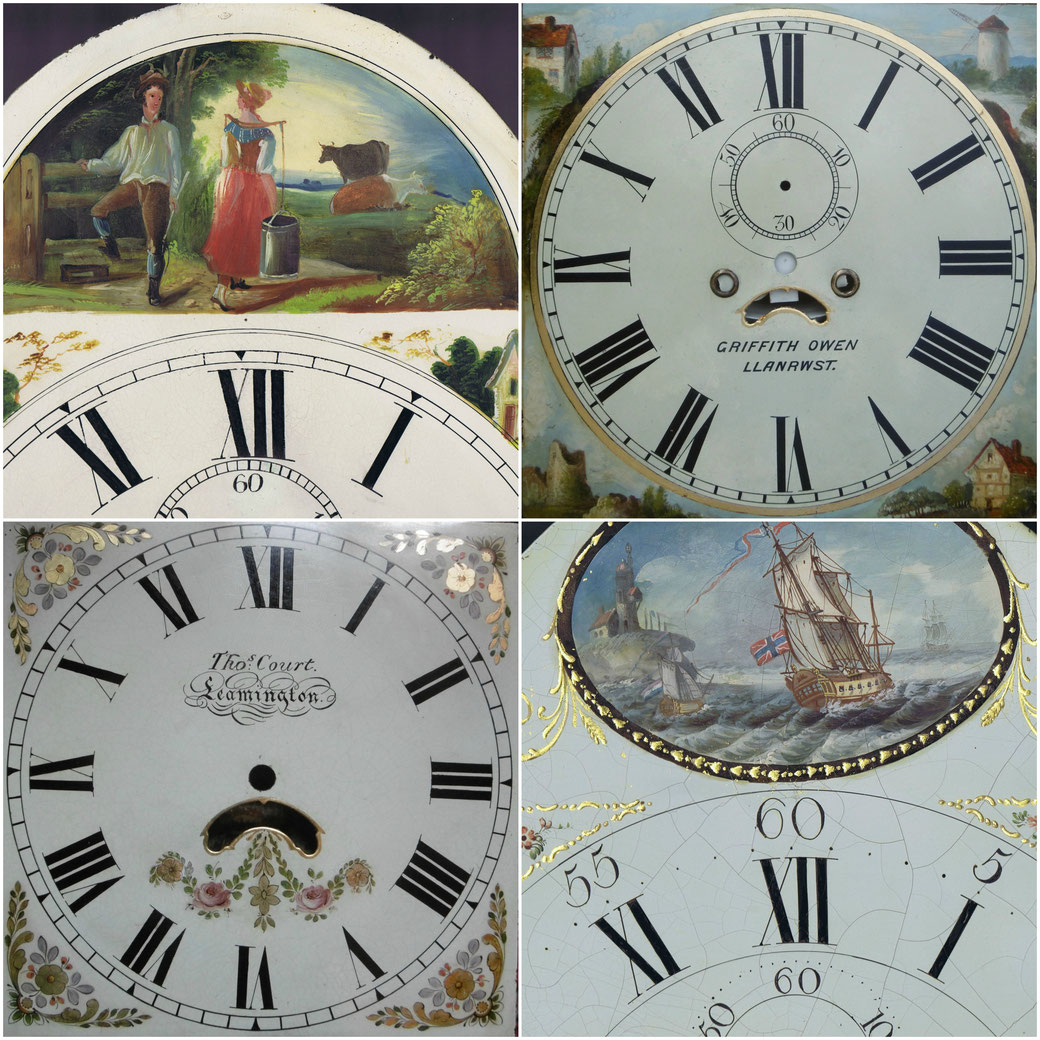 Clock dial restoration, gilding, lettering, painted landscapes, hand painted, restoration,katie morgan, kbmorgan, katie b morgan, illustrator,