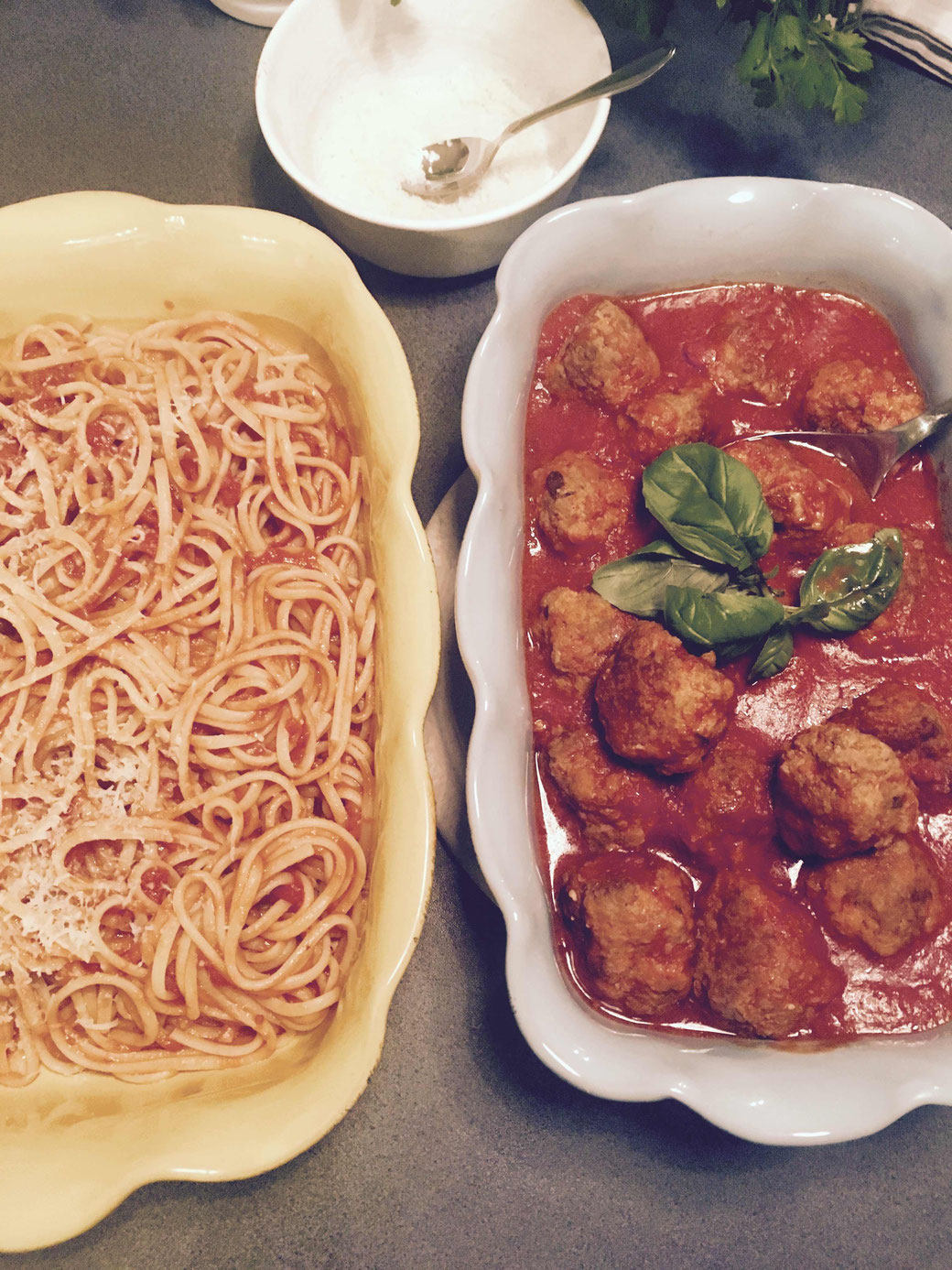Pasta mit Polpette - Das Duett sieht nicht nur hübsch aus.