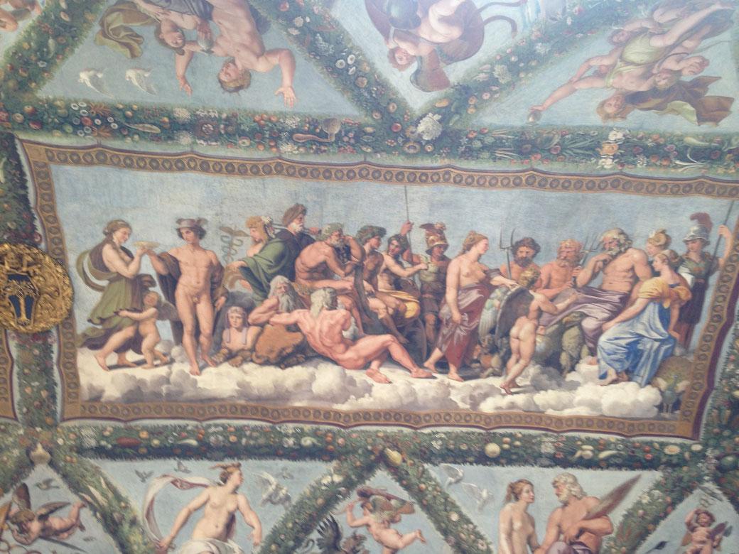 Raffael´s Fresken in der Villa Farnesina - In diesem märchenhaften Ambiente findet die Leonardo Ausstellung statt.