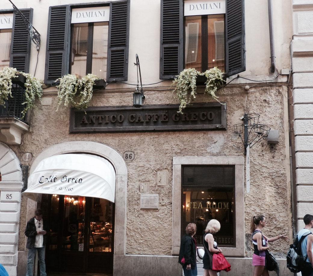 Antico Caffè Greco auf der noblen Via dei Condotti. Wie viele andere Literaten und Künstler gingen auch die Shelleys und Lord Byron hier ein und aus.