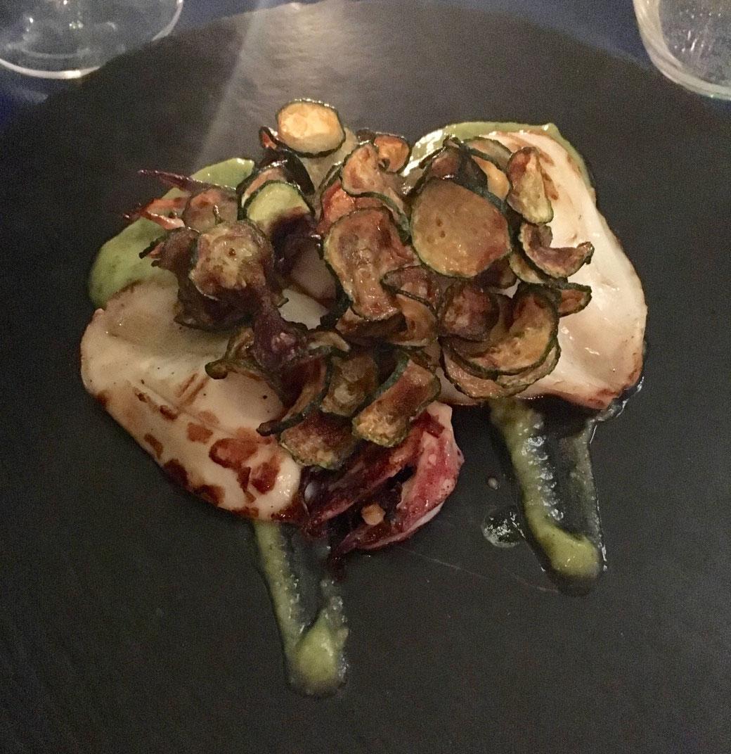 Restaurant-Tipp für Rom - Scuiè Scuiè im Viertel Monti - Polpo mit Zucchinichips