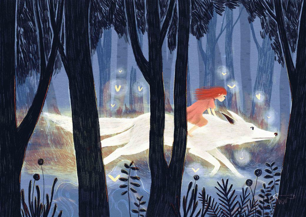 Illustration Hund Mädchen Wald Traum Nacht Stimmung Mareike Ammersken